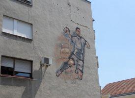 POZDRAV ŠAMPIONIMA Na korzu osvanuo veliku mural u čast bjelovarskih rukometaša