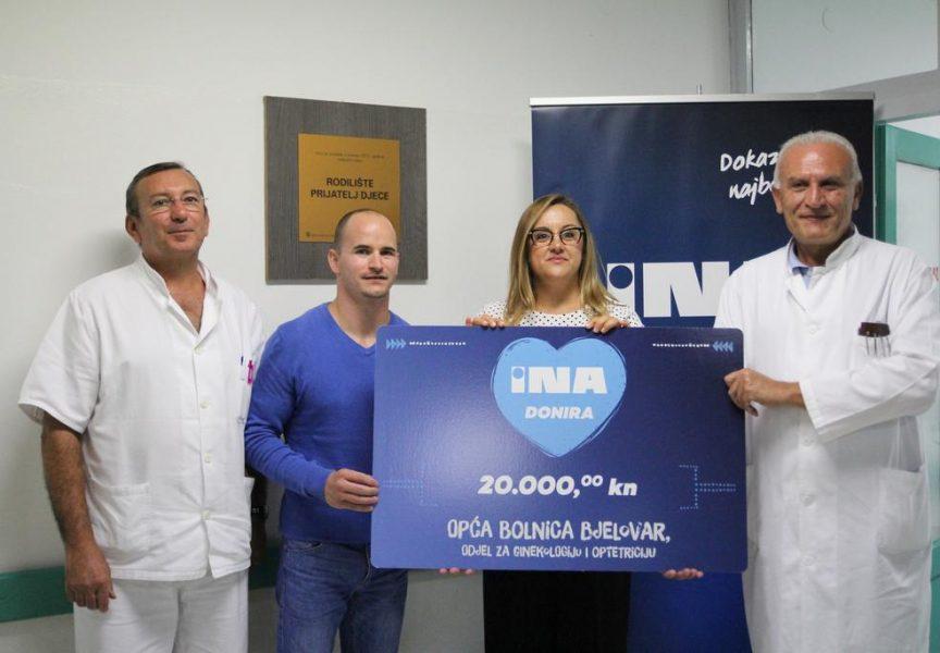 ZNAČAJNA DONACIJA BJELOVARSKOJ BOLNICI INA uručila donaciju od 20 tisuća kuna